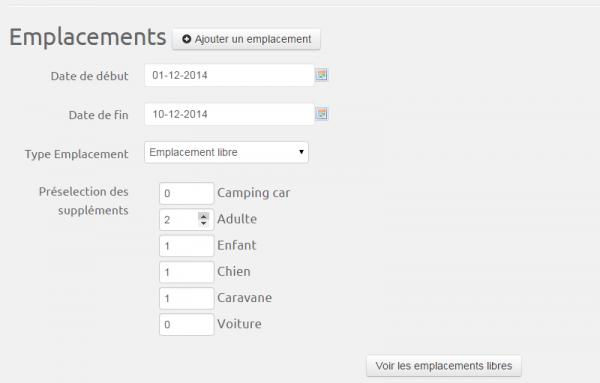 logiciel camping: ajout rapide des suppléments