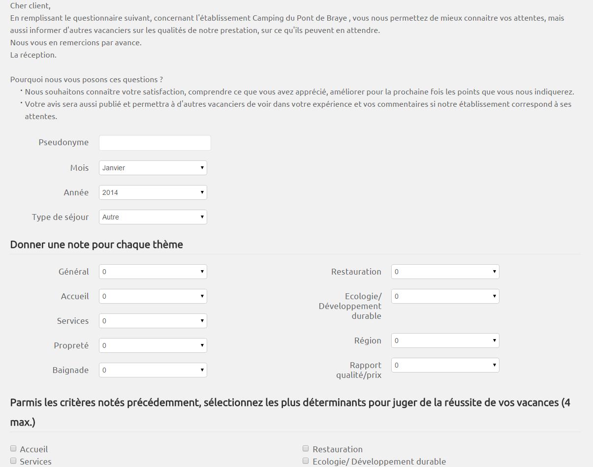 Préférence Questionnaires de satisfaction dans HippoCamp TC96